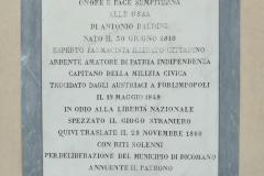 Lapide Antonio Baldini presso l'Oratorio di Sant'Onofrio
